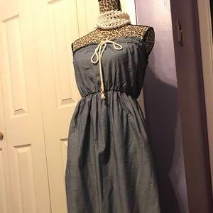 Strapless soft denim dress w/rope drawstring.